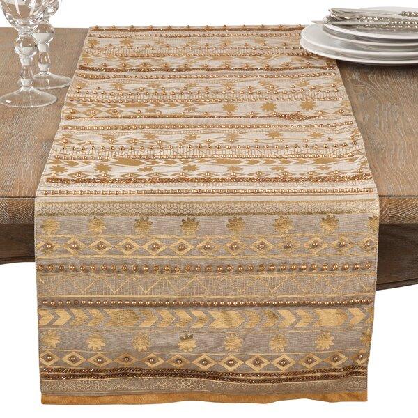 Prescot Beaded Aztec Elegant Glam Cotton Table Runner by Bungalow Rose