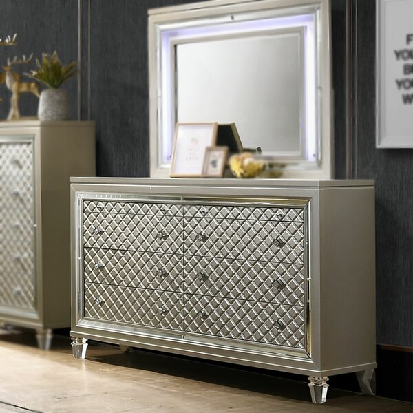 6 Drawer Double Dresser with Mirror by InRoom Designs