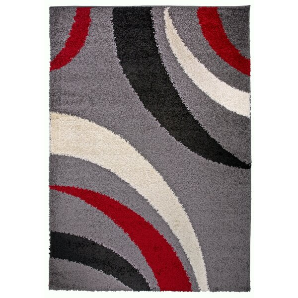 Samantha Cozy Shag Contemporary Abstract Red Area Rug by Ebern Designs