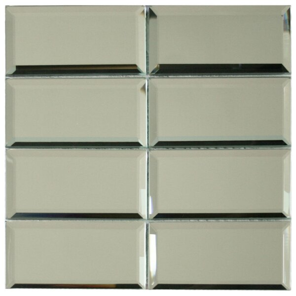 Beveled 3 x 6 Glass Mosaic Tile in Mirror by CNK Tile