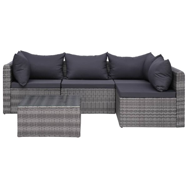 Olgethorpe 5 Piece Rattan Sectional Seating Group with Cushions by Ebern Designs