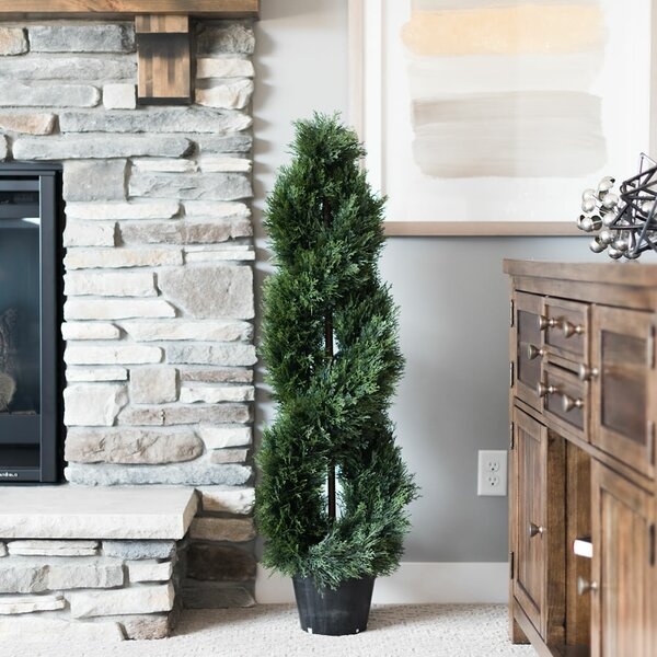 Inherently Flame Retardant Double Spiral Floor Cedar Topiary in Pot by Fleur De Lis Living