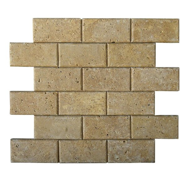 Pillow Edge 2 x 4 Natural Stone Mosaic Tile in Noce by QDI Surfaces