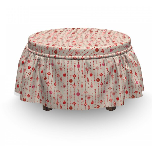 Cartoon Ornaments Ottoman Slipcover (Set Of 2) By East Urban Home