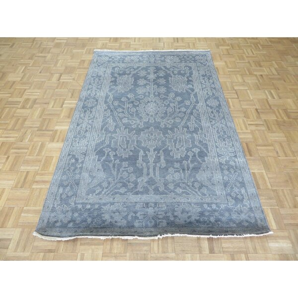 One-of-a-Kind Sherika Oushak Ushak Hand-Knotted Wool Silver/Blue Area Rug by Darby Home Co