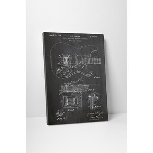 Patent Prints Fender Tremolo Device Graphic Art on Wrapped Canvas by Pingo World