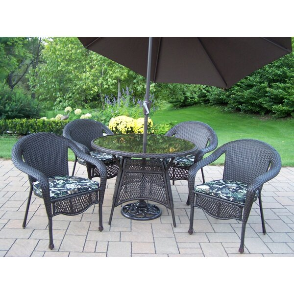 Balhi 5 Piece Dining Set with Cushions and Umbrella Bayou Breeze W000491899