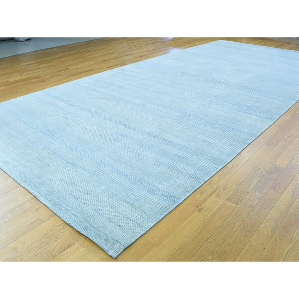 One-of-a-Kind Betances Grass Design Handwoven Blue Wool/Silk Area Rug by Isabelline
