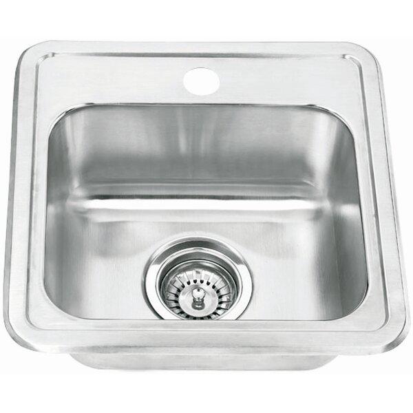 Topmount Single Bowl 15 L x 15 W 1 Basin Bar Sink by Yosemite Home Decor