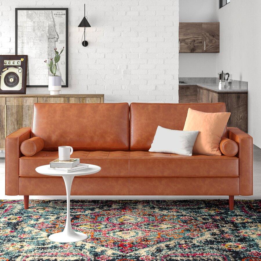 Hailee 84'' Genuine Leather Sofa