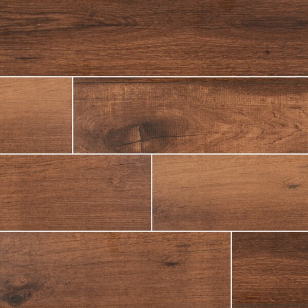 Palmetto Chestnut 6 x 36 Porcelain Tile Wood Look in Brown by MSI