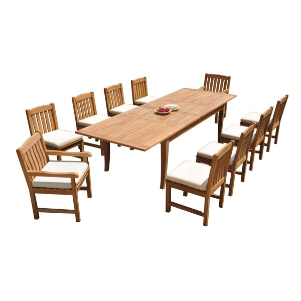 Masson 11 Piece Teak Dining Set by Rosecliff Heights