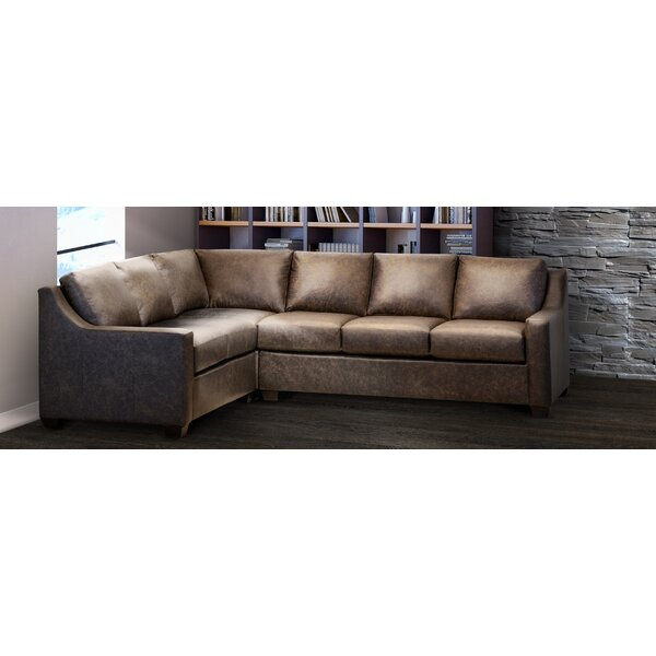 Made In Usa Sandler Distressed Brown Top Grain Leather Sectional Sofa By Ebern Designs