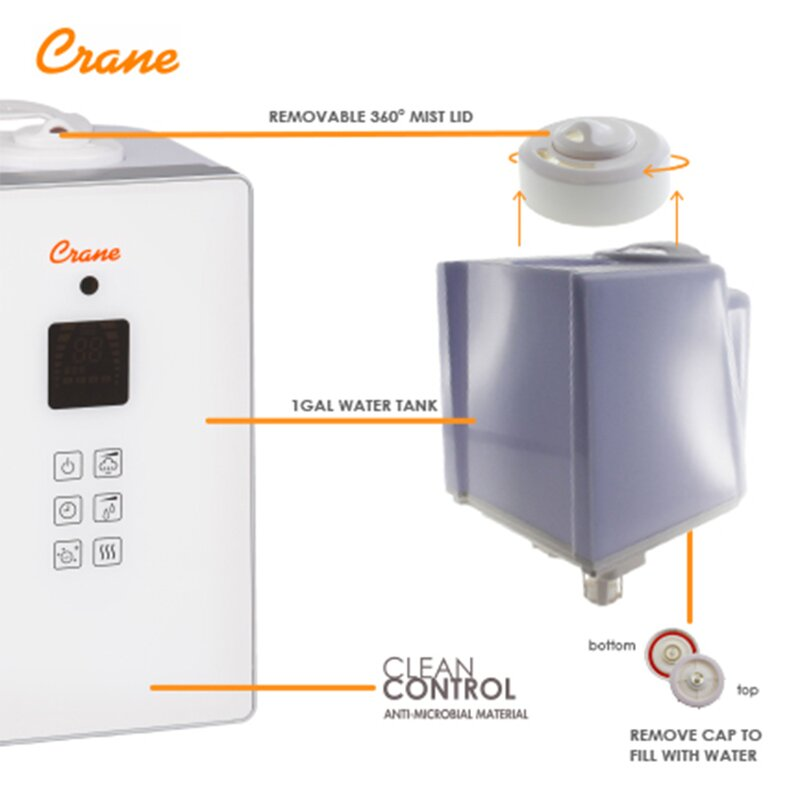 Crane Crane Usa 12 Gal Cool And Warm Mist Ultrasonic Console