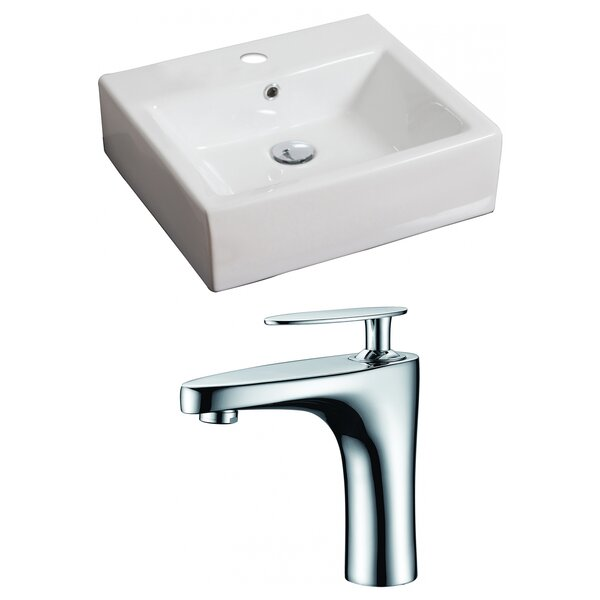 Ceramic 21 Wall Mount Bathroom Sink with Faucet and Overflow
