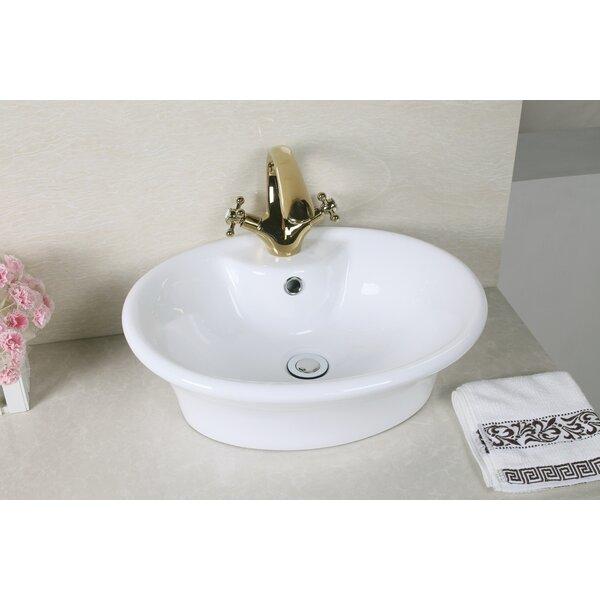 Ceramic Circular Vessel Bathroom Sink with Overflow by Royal Purple Bath Kitchen