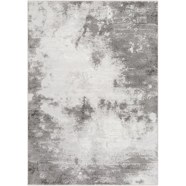 Shenk Abstract Light Gray/White Area Rug by Bungalow Rose