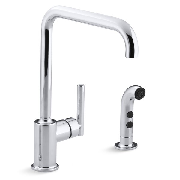 Purist Two-Hole Kitchen Sink Faucet with 8 Spout and Matching Finish Sidespray by Kohler