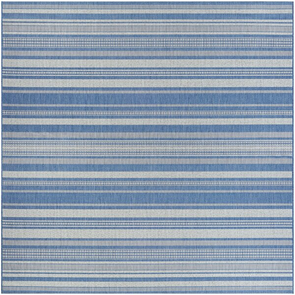 Anguila Stripe Blue/Gray Indoor/Outdoor Area Rug b
