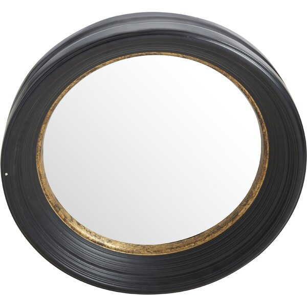 Convex Round Brown Wall Mirror by Fleur De Lis Living