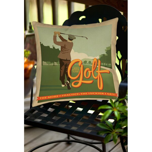 Golf Bad Day Indoor/Outdoor Throw Pillow by Manual Woodworkers & Weavers