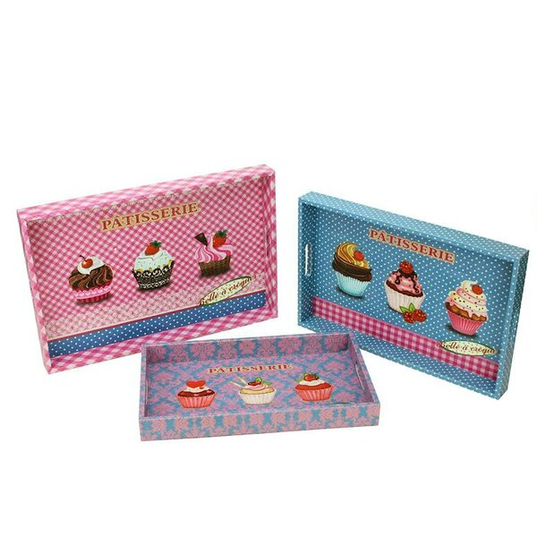 3 Piece Decorative Patisserie and Cupcakes Rectangular Serving Tray Set by Northlight Seasonal