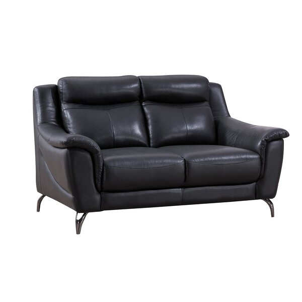 Patio Furniture Groveson Leather 70 Inches Flared Arms Loveseat