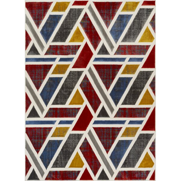 Vicini Geometric Triangles Red/Blue Area Rug by Wrought Studio