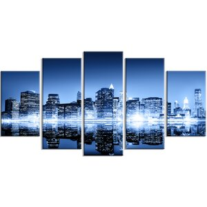 'Night New York City Mirrored' 5 Piece Wall Art on Wrapped Canvas Set by Design Art