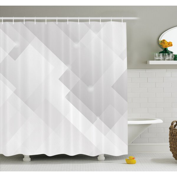 Abstract Light Tones Featured Perspective Stripes Reflection Rays Artisan Artwork Shower Curtain Set by Ambesonne