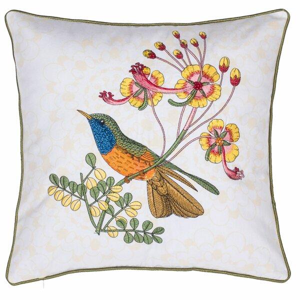 Embroidered Rio Bird Cotton Throw Pillow by 14 Karat Home Inc.
