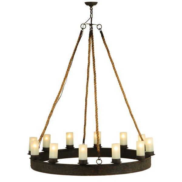Farallones 12 - Light Shaded Wagon Wheel Chandelier By Foundry Select