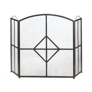 Diamond 3 Panel Iron Fireplace Screen by Zingz & Thingz