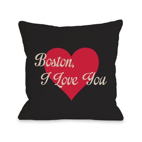 Boston I Love You Heart Throw Pillow by One Bella Casa