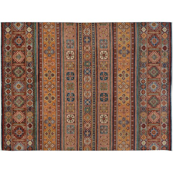 Baldwin Park Hand-Knotted Rectangle Wool Red/Blue Area Rug by Bloomsbury Market