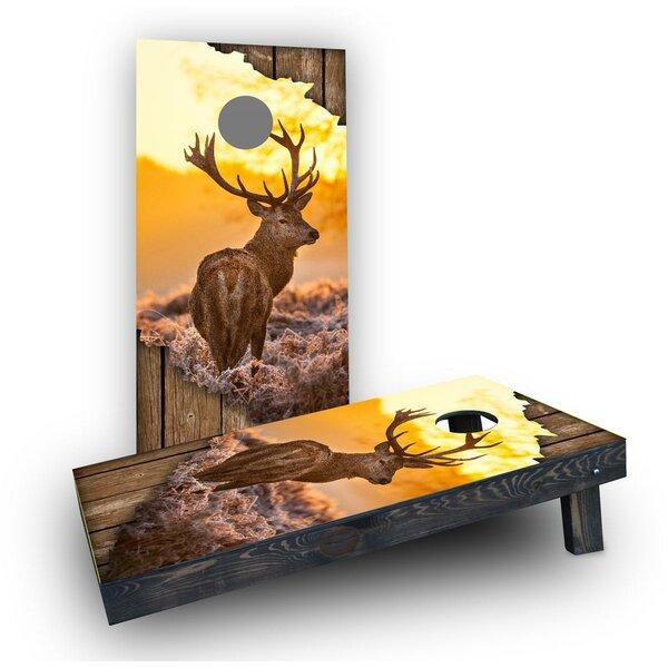 Torn Sunrise Buck With Wood Slat Background Cornhole Boards (Set of 2) by Custom Cornhole Boards