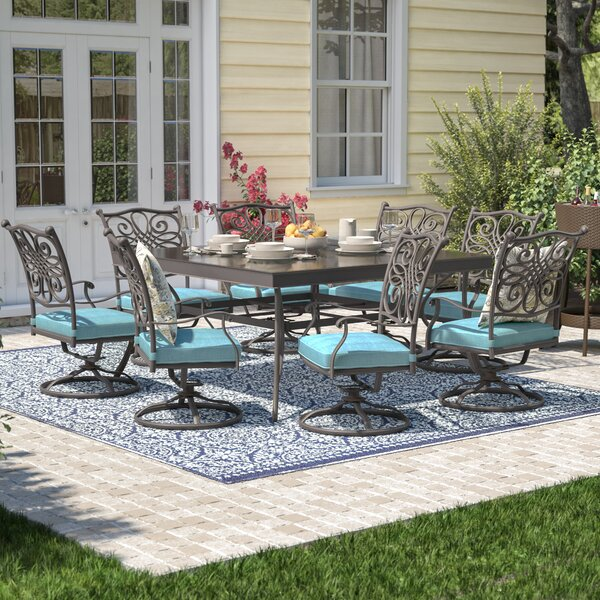 Lauritsen 9 Piece Square Oil Rubbed Bronze Dining Set with Cushions by Three Posts