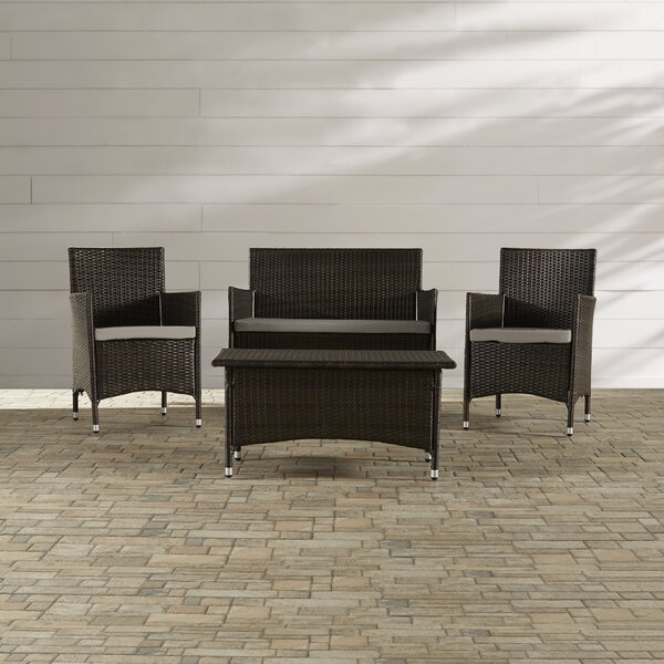 Hogarth 4 Piece Rattan Seating Group with Cushions by Zipcode Design
