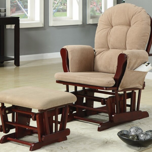 Caffee Chicly Elegant Glider Manual Swivel Recliner with Ottoman by Harriet Bee