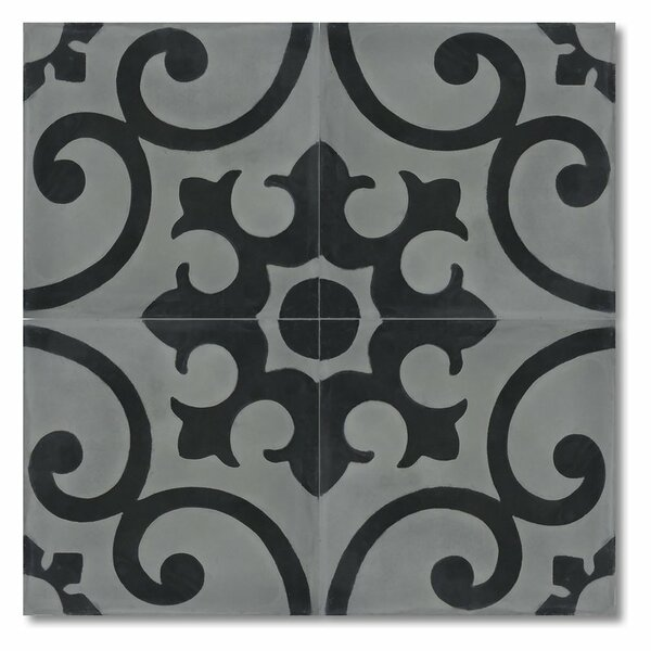 Orika 8 x 8 Handmade Cement Tile in Black and Gray by Moroccan Mosaic