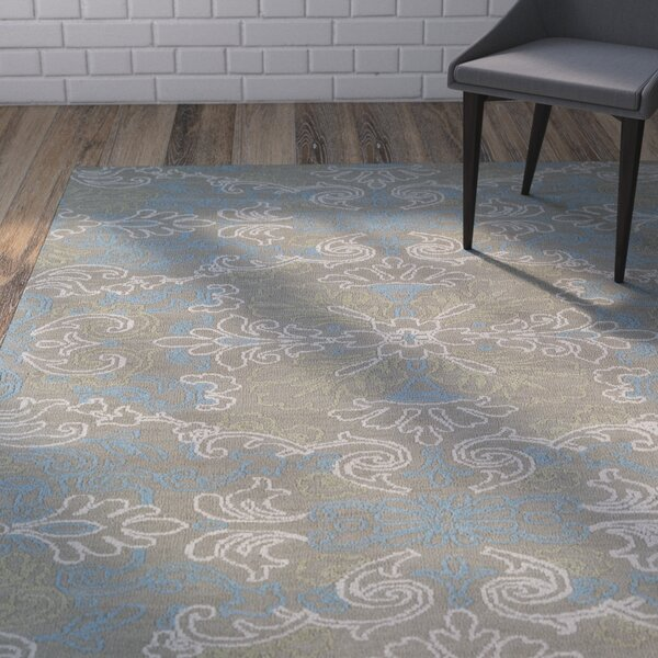 Chew Magna Gray/Turquoise Area Rug by Wrought Studio