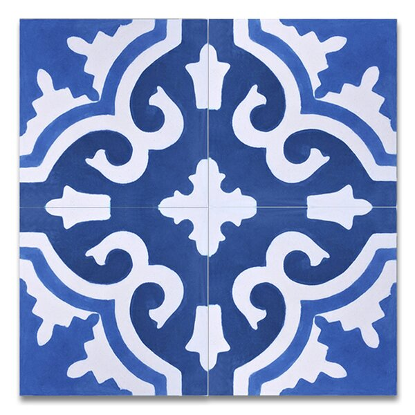 Tanger 8 x 8 Handmade Cement Tile in Blue and White by Moroccan Mosaic