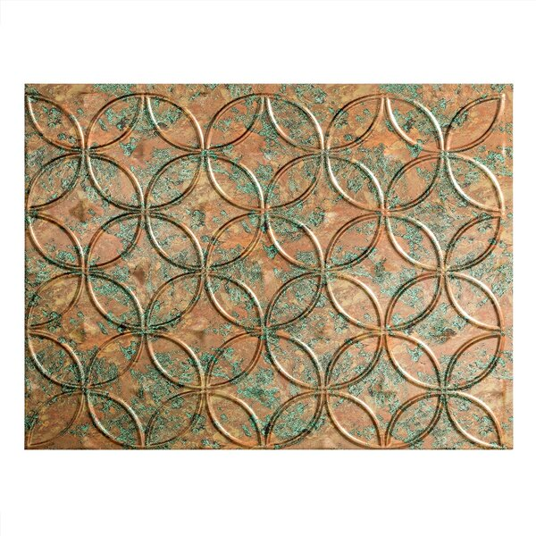 Rings 1.5 ft. x 2 ft. PVC Backsplash Panel in Copper Fantasy by Fasade