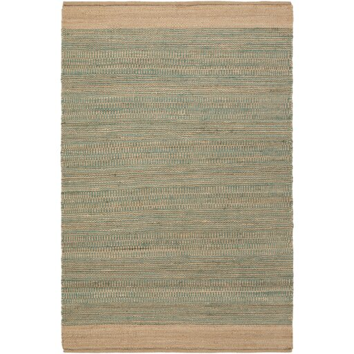 Boughner Hand-Woven Teal/Khaki Area Rug by Three Posts