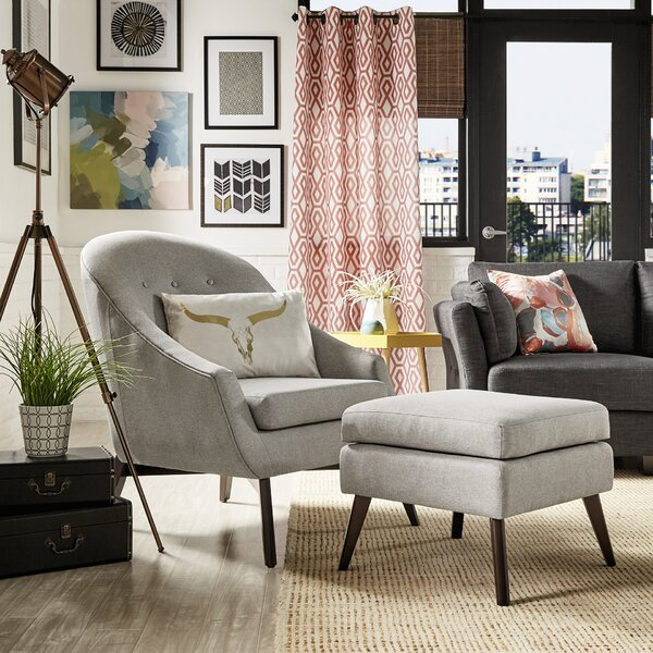 Mu Armchair and Ottoman by Mercury Row