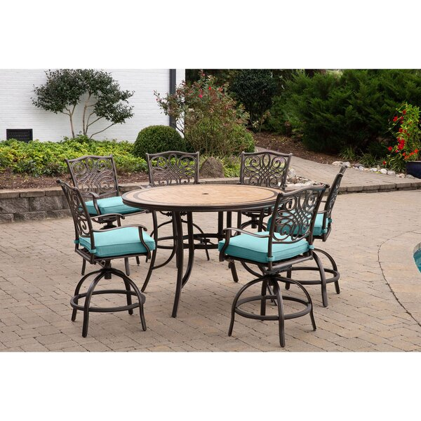 Bucci 7 Pieces High-Dining Set with Cushions by Fleur De Lis Living