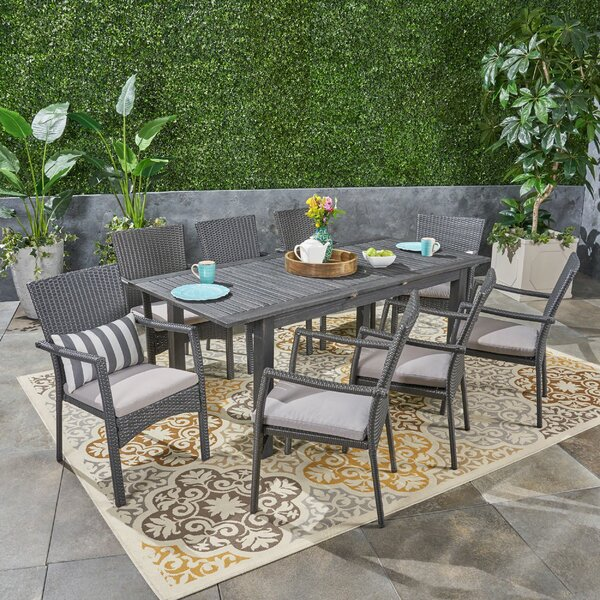 Jolliff Outdoor Expandable 9 Piece Dining Set with Cushions by Brayden Studio