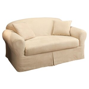 Microsuede 2-Piece Box Cushion Loveseat Slipcover