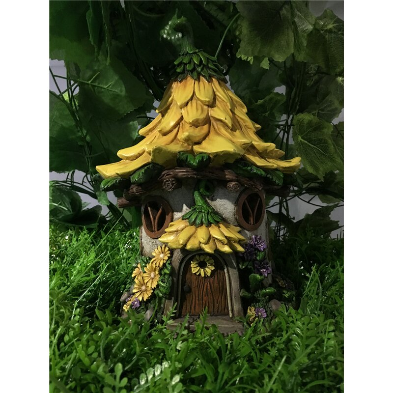 Beau Fairy Garden House With Sunflower Roof   Solar LED Lights Statue