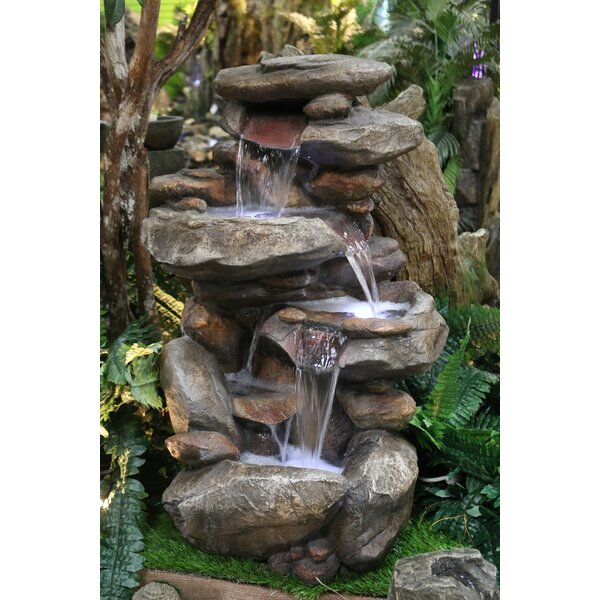 Fiberglass Rock Fountain with Light by Alpine